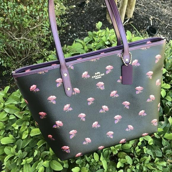 Coach Handbags - Coach Black Flower Print City Tote Bag F73203